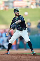 Ocelotes de Greensboro starting pitcher Colin Selby (38) looks to his catcher for the sign against the Hickory Crawdads at First National Bank Field on June 11, 2019 in Greensboro, North Carolina. The Crawdads defeated the Ocelotes 2-1. (Brian Westerholt/Four Seam Images)