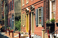 Oldest residential street in the United States, Elfreth's Alley, National Historic Landmark District in Old City Philadelphia, Pennsylvania