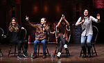 Elizabeth Judd, Eliza Ohman, Sasha Hollinger and Lauren Boyd during their #EduHam Q & Aon January 31, 2018 at the Richard Rodgers Theatre in New York City.
