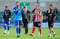 Lincoln City's Josh Vickers applauds the fans at the final whistle<br /> <br /> Photographer Chris Vaughan/CameraSport<br /> <br /> The EFL Sky Bet League One - Lincoln City v Fleetwood Town - Saturday 31st August 2019 - Sincil Bank - Lincoln<br /> <br /> World Copyright © 2019 CameraSport. All rights reserved. 43 Linden Ave. Countesthorpe. Leicester. England. LE8 5PG - Tel: +44 (0) 116 277 4147 - admin@camerasport.com - www.camerasport.com