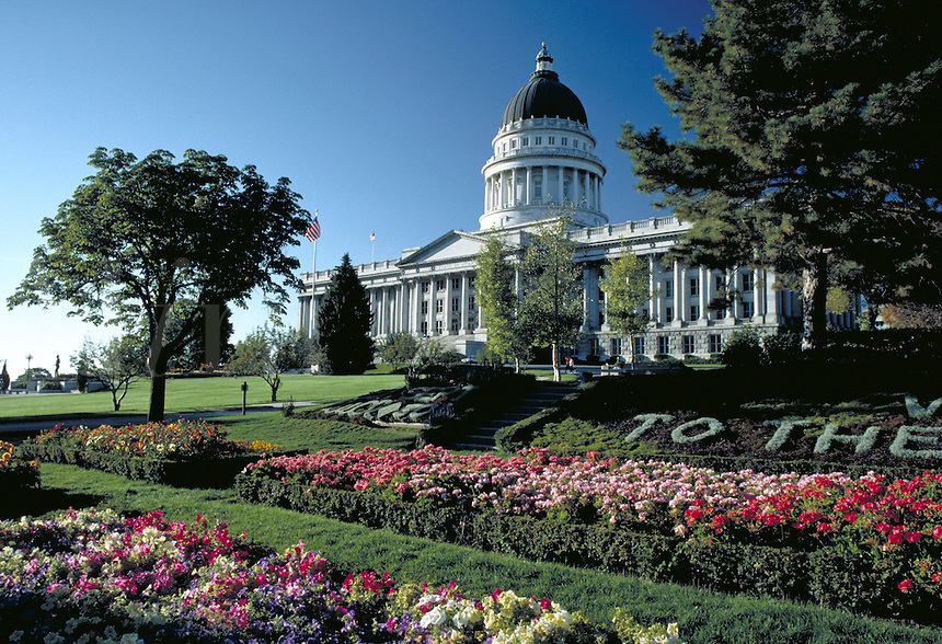 Flower garden and the Utah State Capitol Building, government offices, architecture, front view, flowering plants, side view,. Salt Lake City Utah.