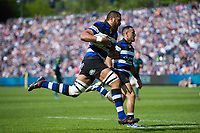 Taulupe Faletau of Bath Rugby runs in a first half try. Aviva Premiership match, between Bath Rugby and London Irish on May 5, 2018 at the Recreation Ground in Bath, England. Photo by: Patrick Khachfe / Onside Images