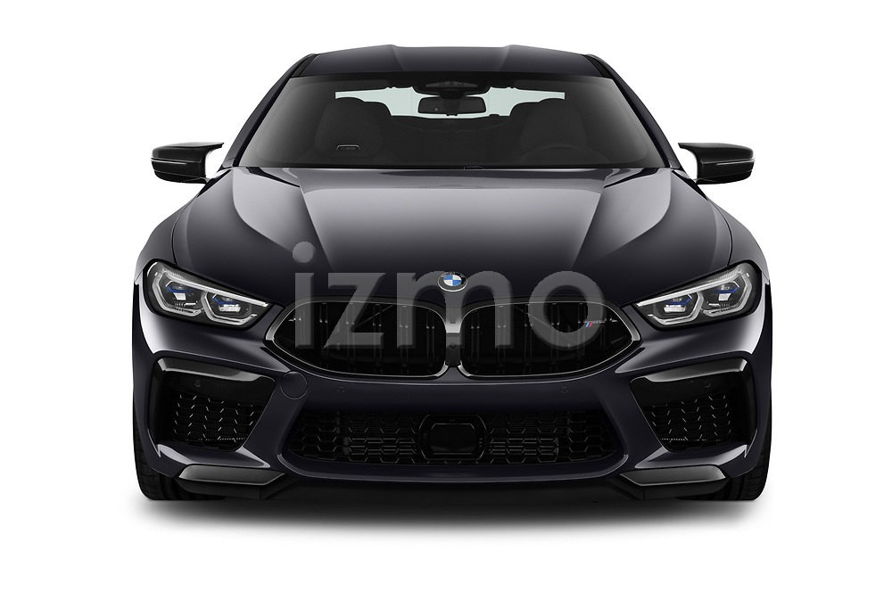 Car photography straight front view of a 2020 BMW M8-Gran-Coupe Competition 4 Door Sedan Front View