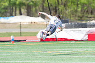 """Washington, DC - APR 22, 2018: Ottawa Outlaws Alec Arsenault (22) lays out for a pass during AUDL game between DC Breeze and the Ottawa Outlaws. The DC Breeze get the win 26-19 over Ottawa in the Battle of the Capitals"""" at Catholic University Washington, DC. (Photo by Phil Peters/Media Images International)"""