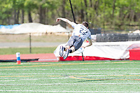 "Washington, DC - APR 22, 2018: Ottawa Outlaws Alec Arsenault (22) lays out for a pass during AUDL game between DC Breeze and the Ottawa Outlaws. The DC Breeze get the win 26-19 over Ottawa in the Battle of the Capitals"" at Catholic University Washington, DC. (Photo by Phil Peters/Media Images International)"