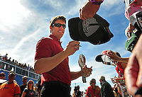 Mar. 1, 2009; Las Vegas, NV, USA; NASCAR Sprint Cup Series driver Carl Edwards signs autographs prior to the Shelby 427 at Las Vegas Motor Speedway. Mandatory Credit: Mark J. Rebilas-