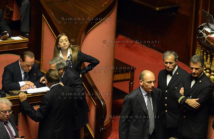 Roma, 2 Ottobre 2013<br /> Senato <br /> Il primo Ministro Enrico Letta e Silvio Berlusconi durante il dibattito sulla fiducia con Roberto Calderoli