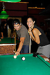 Bryan Craig & Kelly Thiebaud shoot pool at 15th Southwest Florida Soapfest 2014 Charity Weekend with a Bartending/Karaoke get together on May 26, 2104 at Porky's, Marco Island, Florida. (Photo by Sue Coflin/Max Photos)