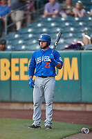 Johnny Monell (21) of the Las Vegas 51s stands on deck to bat against the Salt Lake Bees at Smith's Ballpark on May 7, 2018 in Salt Lake City, Utah. The 51s defeated the Bees 10-8. (Stephen Smith/Four Seam Images)