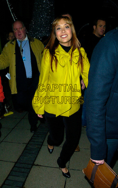 MYLEENE KLASS.Switches on the Christmas Lights in Carnaby Street,.London, England, November 13th 2007..full length green jacket bow collar French Connection black skinny jeans .CAP/CAN.©Can Nguyen/Capital Pictures