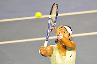 MELBOURNE, 29 JANUARY - Na Li (CHN) in action during women's final match against Kim Clijsters (BEL) on day thirteen of the 2011 Australian Open at Melbourne Park, Australia. (Photo Sydney Low / syd-low.com)