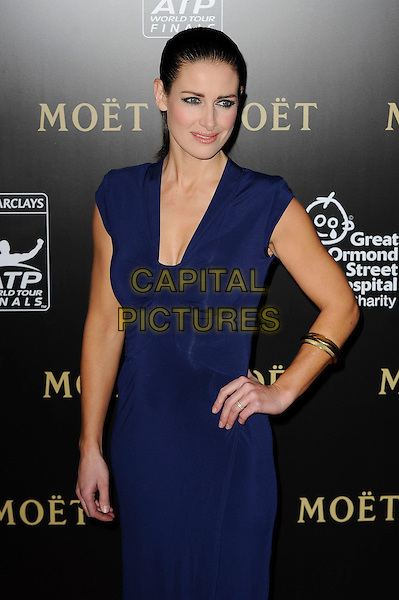 Kirsty Gallacher  .Barclays ATP World Finals Tour Gala, Royal Courts Of Justice, London, England..3rd November 2012.half length blue dress hand on hip bracelet .CAP/MAR.© Martin Harris/Capital Pictures.