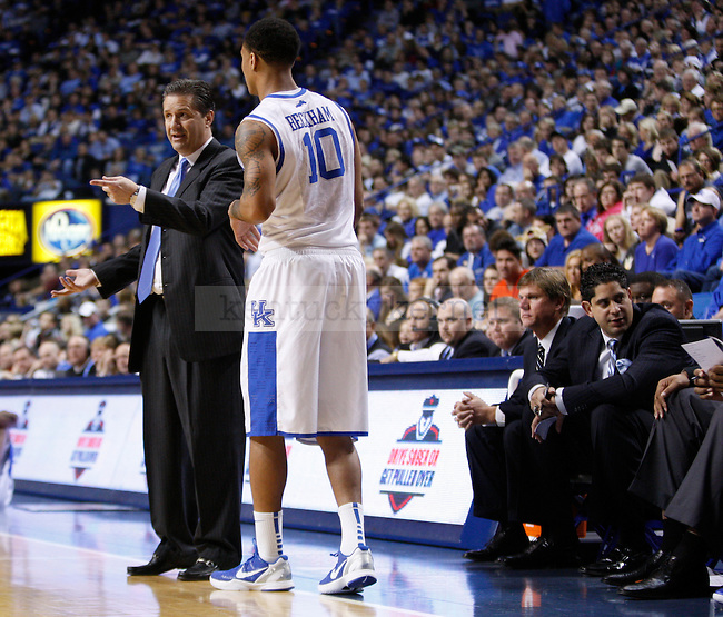 Head Coach John Calipari talks with Twany Beckham in the game against Samford at Rupp Arena on Tuesday, Dec. 20, 2011. Photo by Scott Hannigan | Staff