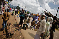 People do their purchases in the Sheromeda Market  on the last day of the year 2000 marked on the Gregorian Calender followed in Ethiopia. The image was taken on Wednesday September 10 2008 in Ethiopia's capital Addis Ababa..the Gregorian Calender marks 13 months starting on September 11 of the western calendar. In the year 2007 Ethiopians celebrated their Millennium. Currently the country struggles with two digit inflation, food commodities more than doubled in price in the last year and millions of Ethiopians depending on food aid.