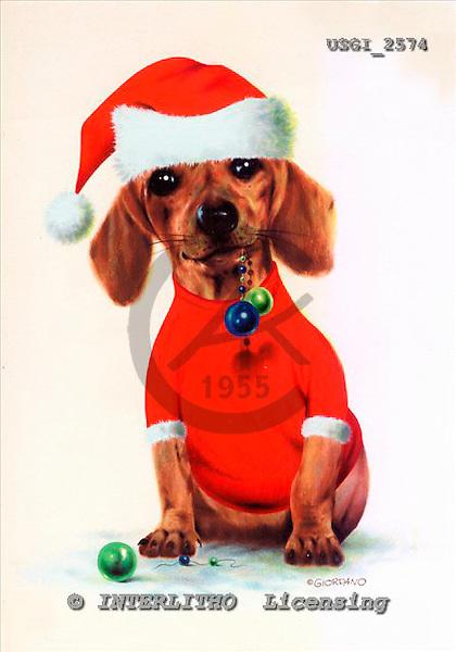 GIORDANO, CHRISTMAS ANIMALS, WEIHNACHTEN TIERE, NAVIDAD ANIMALES, paintings+++++,USGI2574,#XA# dogs,puppies