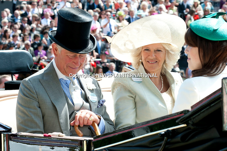"ROYAL ASCOT 2011 DAY 1..The Royal Family arrive via carriage at the first day of the 2011 Royal Ascot race meeting.The Queen, The Duke Edinburgh, Prince Charles, Camilla Duchess of Cornwall, Princess Beatrice and Prince Eugenie arrived by carriage.  Royal Ascot_14/06/2011..Mandatory Photo Credit: ©Dias/Newspix International..**ALL FEES PAYABLE TO: ""NEWSPIX INTERNATIONAL""**..PHOTO CREDIT MANDATORY!!: NEWSPIX INTERNATIONAL(Failure to credit will incur a surcharge of 100% of reproduction fees)..IMMEDIATE CONFIRMATION OF USAGE REQUIRED:.Newspix International, 31 Chinnery Hill, Bishop's Stortford, ENGLAND CM23 3PS.Tel:+441279 324672  ; Fax: +441279656877.Mobile:  0777568 1153.e-mail: info@newspixinternational.co.uk"