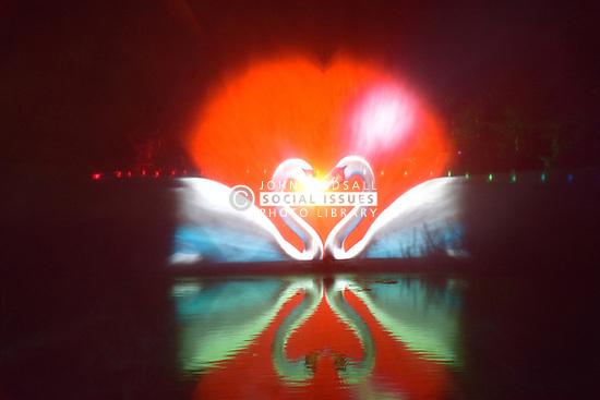 Latitude Festival, Henham Park, Suffolk, UK July 2018. Light show on the lake at night