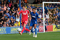 Josh Morris of Scunthorpe United and Tennai Watson of AFC Wimbledon during AFC Wimbledon vs Scunthorpe United, Sky Bet EFL League 1 Football at the Cherry Red Records Stadium on 15th September 2018