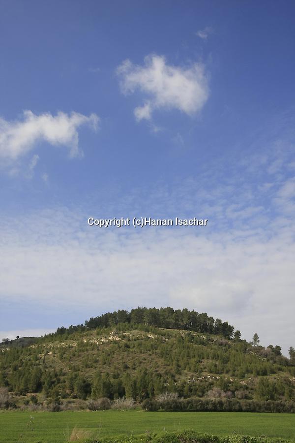 Israel, Shephelah. Tel Azekah overlooks the Valley of Elah