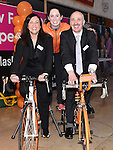 Aoibheann McCall who plays Fair City's Caoimhe Dillon pictured with Centre managers Jeanette Cathcart and Ken Fox at the Cyclathon to raise funds for Cycle Against Suicide held in Scotch hall. Photo:Colin Bell/pressphotos.ie