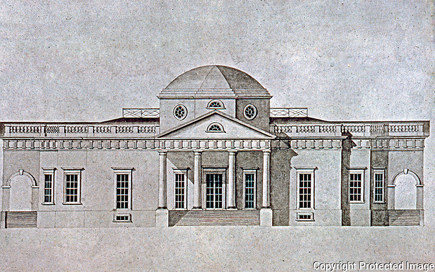 Thomas Jefferson: Monticello, west elevation. Final version drawn by Robert Mills.