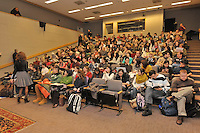 Audience members waiting for the program to begin. Robert B. Zoellick, president, World Bank, interview by Ernesto Zedillo, director, Yale Center for the Study of Globalization. Luce Center, Yale University, New Haven, CT