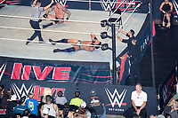 WWE Champion Jinder Mahal (center with hands on face) fights against Randy Orton at a WWE Live Summerslam Heatwave Tour event at the MassMutual Center in Springfield, Massachusetts, USA, on Mon., Aug. 14, 2017. Mahal lost the match.