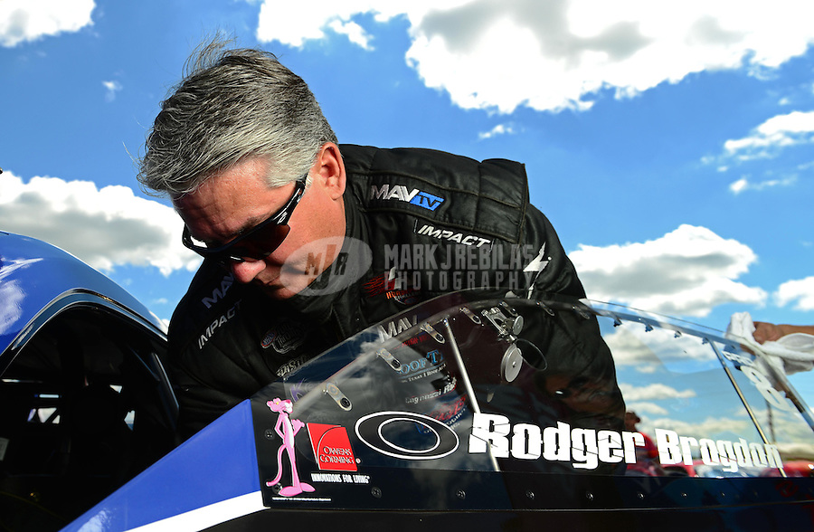 Sept 8, 2012; Clermont, IN, USA: NHRA pro stock driver Rodger Brogdon during qualifying for the US Nationals at Lucas Oil Raceway. Mandatory Credit: Mark J. Rebilas-