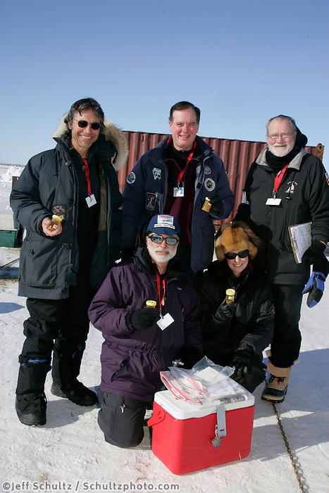 "Wednesday March 14, 2007   ----   The drug testing group kown as the ""P-team"" poses for a photo at the dog lot in Nome"