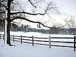 Oatlands Plantation Snow field with split rail fence Virginia, Fine Art Photography by Ron Bennett, Fine Art, Fine Art photography, Art Photography, Copyright RonBennettPhotography.com ©