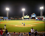 The Licey Tigres play baseball at Estadio Quisqueya. They were playing the Azucareros Del Estate.