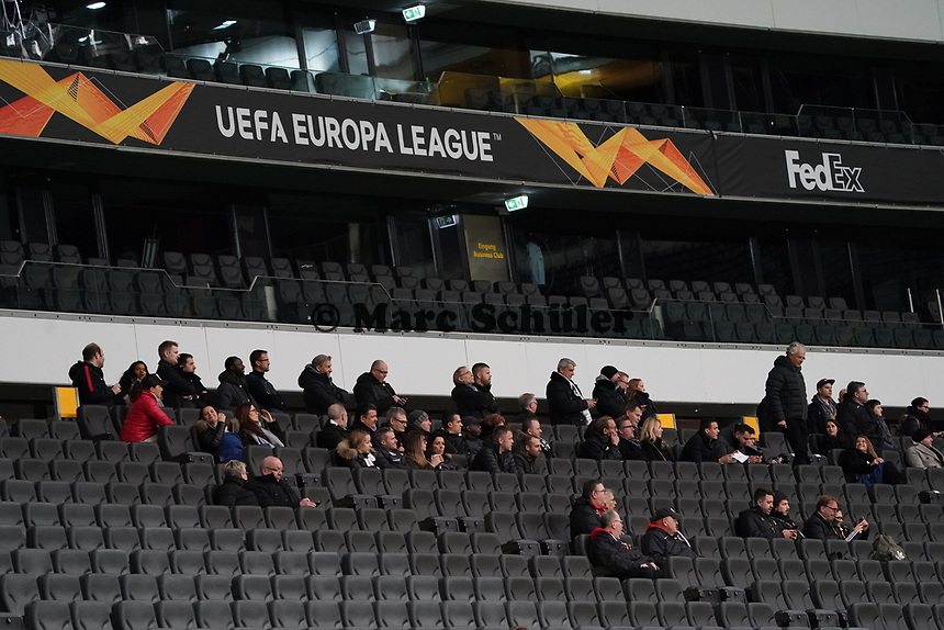 Wenige Fans, Verantwortliche und VIPs in der Arena - 12.03.2020: Eintracht Frankfurt vs. FC Basel, UEFA Europa League, Achtelfinale, Commerzbank Arena<br /> DISCLAIMER: DFL regulations prohibit any use of photographs as image sequences and/or quasi-video.