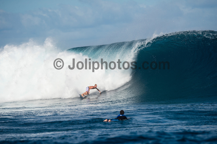 Namotu Island Resort, Namotu, Fiji. (Wednesday May 28, 2014) Nat Young (USA) –  The Fiji Women's Pro, Stop No. 5 of 10 on the 2014  Women's World Championship Tour (WCT) was called on today  at Resturants despite a rising swell at Cloudbreak. 6'-8' south swell.  A  free surf session went down all day at Cloudbreak with some amazing barrels with the swell pushing 8'-10' by late afternoon. Photo: joliphotos.com