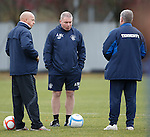 Ally McCoist and his loyal lieutenants plotting the downfall of Peterhead on the training ground