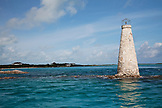 "EXUMA, Bahamas. A mini stone lighthouse by the ""Aquarium"",  Exuma Land and Sea Park, a sheltered cove that is home to an incredible array of marine life."