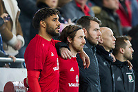 Regular Wales captain Ashley Williams (far left) ahead of the International Friendly match between Wales and Panama at the Cardiff City Stadium, Cardiff, Wales on 14 November 2017. Photo by Mark Hawkins.