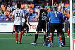 The Hague, Netherlands, June 01: Hyunwoo Nam #32 of Korea, Hugo Inglis #29 of New Zealand and Myungho Lee #1 of Korea look on during the field hockey group match (Men - Group B) between the Black Sticks of New Zealand and Korea on June 1, 2014 during the World Cup 2014 at GreenFields Stadium in The Hague, Netherlands. Final score 2:1 (1:0) (Photo by Dirk Markgraf / www.265-images.com) *** Local caption ***