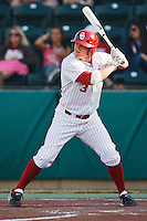 Casey Johnson (3) batting during the NCAA matchup between the University of Arkansas-Little Rock Trojans and the University of Oklahoma Sooners at L. Dale Mitchell Park in Norman, Oklahoma; March 11th, 2011.  Oklahoma won 11-3.  Photo by William Purnell/Four Seam Images