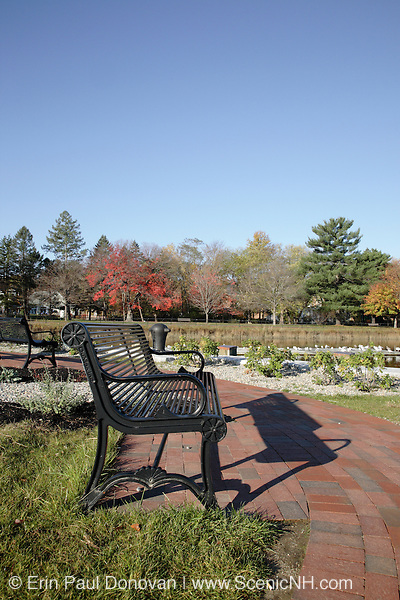 A small park near Squamscott River in downtown Exeter, New Hampshire USA