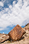 Fremont style petroglyphs in Dry Wash--Snake panel and cliff, central Utah--Kokopeli and snakes; clouds