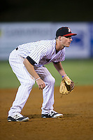 Kannapolis Intimidators third baseman Cody Daily (31) on defense against the Hickory Crawdads at Kannapolis Intimidators Stadium on April 9, 2016 in Kannapolis, North Carolina.  The Crawdads defeated the Intimidators 6-1 in 10 innings.  (Brian Westerholt/Four Seam Images)