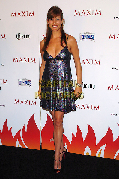 KATE WALSH .Maxim Magazine's 8th Annual Hot 100 Party at Gansevoort Hotel, New York City, New York, USA..May 16th, 2007.full length blue sequins sequined dress shiny sparkly hands cleavage low cut black t bar shoes .CAP/ADM/BL.©Bill Lyons/AdMedia/Capital Pictures *** Local Caption ***