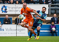 Sam Wood of Wycombe Wanderers and Tom Aldred of Blackpool during the Sky Bet League 2 match between Wycombe Wanderers and Blackpool at Adams Park, High Wycombe, England on the 11th March 2017. Photo by Liam McAvoy.