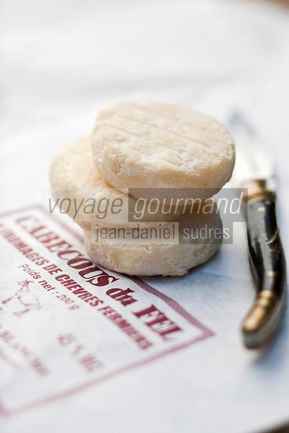 Europe/France/Midi-Pyrénées/12/Aveyron/Le Fel:  Cabecous du Fel - Fromage de chêvre de la Ferme de Mousset - GAEC de la chèvre blanche