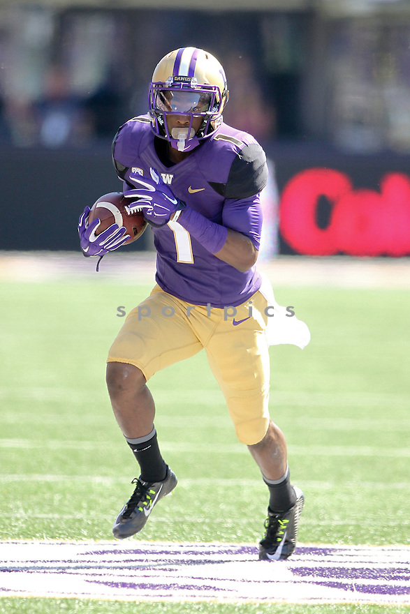 Washington Huskies John Ross (1) during a game against the Eastern Washington Eagles on September 6, 2014 at Husky Stadium in Seattle, WA. Washington beat East Washington 59-52.