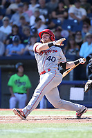 Matt Whatley (40) of the Spokane Indians bats against the Hillsboro Hops at Ron Tonkin Field on July 23, 2017 in Hillsboro, Oregon. Spokane defeated Hillsboro, 5-3. (Larry Goren/Four Seam Images)