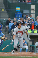 Frederick Keys infielder Steve Wilkerson (17) at bat during a game against the Myrtle Beach Pelicans at Ticketreturn.com Field at Pelicans Ballpark on April 8, 2016 in Myrtle Beach, South Carolina. Frederick defeated Myrtle Beach 5-2. (Robert Gurganus/Four Seam Images)
