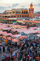 Marrakesh, Morocco. Food Stalls and People in the Place Jemaa El-Fna.