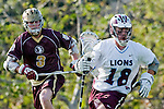 Los Angeles, CA 03/08/10 - Greg Sharron (LMU # 18) and Andrew Witteck (FSU # 3) in action during the Florida State-LMU MCLA interconference men's lacrosse game at Leavey Field (LMU).  Florida State defeated LMU 12-7.