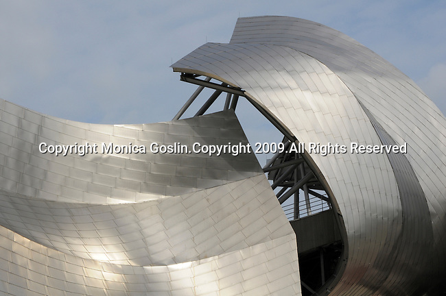 Millennium Park in Downtown Chicago, IL and the music pavilion and pedestrian bridge designed by Frank Gehry.